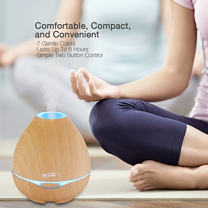 Brown Single Room Cold Steam Humidifier Portable Unique Compact Design With Colorful LED Light
