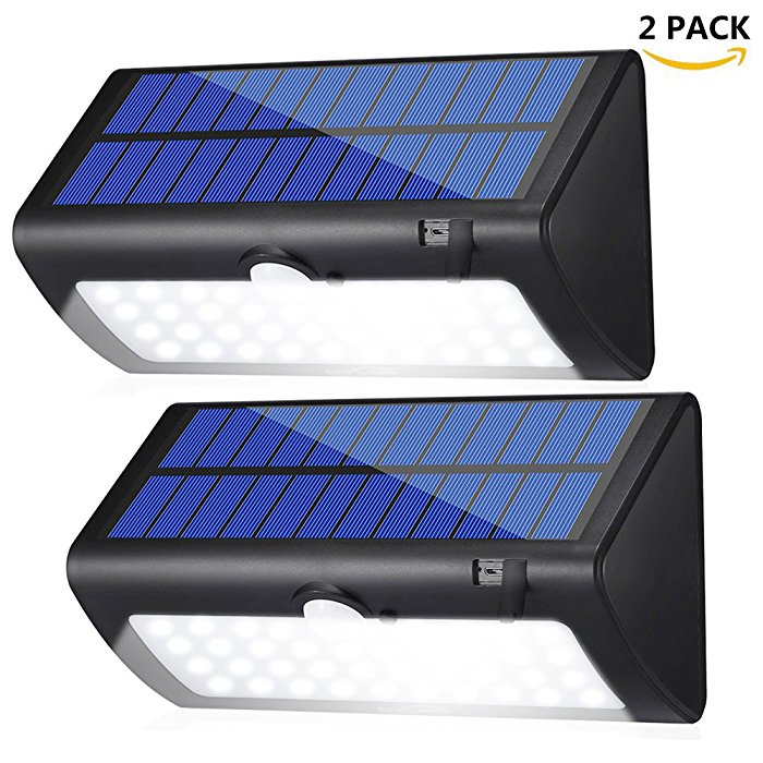 2 Pack Solar Powered Outside Security Lights with Micro USB Cord Charging Modes